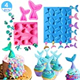 (Set of 4) JeVenis Mermaid Tail Mermaid Silicone Fondant Mold for Cake decoration Chocolate Candy Mold Soap Mold Baking Tool Jello Mold Cupcake Topper Ice Tray (4 PCS) (Color: 4 PCS)