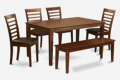 East West Furniture CAML6C-MAH-LC 6-Piece Dining Room Table Set with Bench
