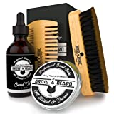 Beard Brush, Comb, Balm, Oil Grooming And Conditioner Beard Care For Men - Best Facial Hair Combo For Home And Travel - Ideal For Dry or Wet And All Sizes & Beards Style - Great GENTLEMEN'S Gift. (Color: Black, Tamaño: Small)