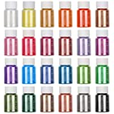 Mica Powder,24 Colors Set[Huge 240g/8.47oz] Epoxy Resin Color Pigment for Soap Making,Bath Bomb Colorant,Polymer Clay,Nail Art,Makeup,Craft Projects. (Color: 24 colors)