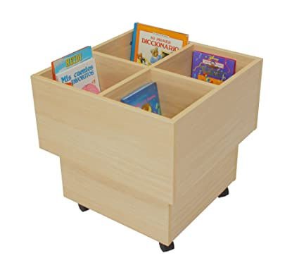Mobeduc 602103HR18 libreria-Secchio per bambini, legno di faggio, 60 x 60 x 60 cm