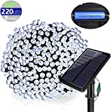 SOLARMKS DC-18, 77 ft 220 Led Fairy USB 8 Modes Solar Christmas Waterproof Outdoor String Lights for Garden Lawn Patio Xmas Tree (White) (Color: White)