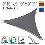SUNNY GUARD 9'10'' x 9'10'' x 9'10'' Charcoal Triangle Sun Shade Sail UV Block for Outdoor Patio Garden
