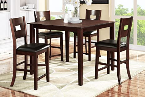 Poundex F2340 & F1135 Dark Brown Finish W/ Black Vinyl Counter Height Dining Set