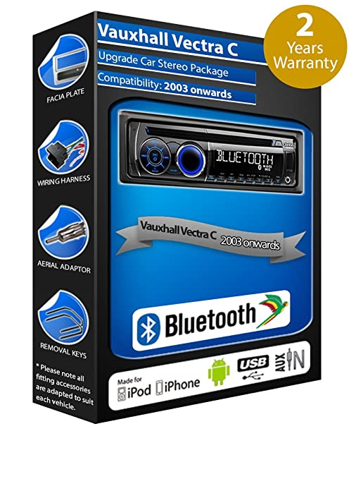 Vauxhall Vectra C voiture Radio lecteur CD USB AUX Clarion cz301e Kit mains libres Bluetooth