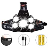 Rechargeable LED headlamp, Zukvye Super Bright 5 LED Headlight Zoomable Waterproof CREE Headlamps Flashlight for Cycling, Running, Dog Walking, Camping, Hiking, Fishing, Night Reading and DIY Works (Color: 5 LED Headlamp Black)