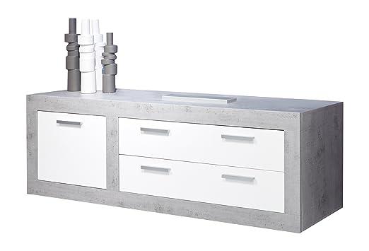 Maisonnerie 1516-316-35 Meuble TV Blanc Ultrabrillant - Béton Décor LxHxP 180x69x50 cm