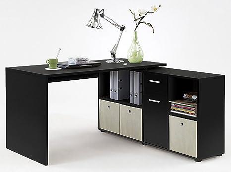 Bureau angulaire réversible en bois de couleur noire - Dim : L 136 x H 66,5 x P 74 cm - PEGANE -