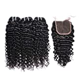 MSGEM Curly Wave Brazilian Hair Bundles With Closure Deep Curly Weave Human Hair 3 Bundles With Closure Natural Black 14 with 18 20 22 inch (Color: bundles with closure, Tamaño: 18/20/22+14 Inch)