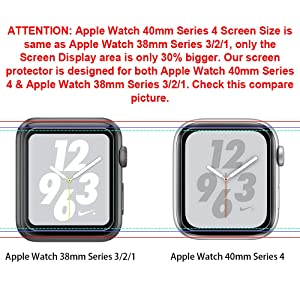 LK 6 Pack Screen Protector for Apple Watch (38mm Series 3/2/1 40mm Series 4 Compatible) Max Coverage Anti-Bubble HD Clear With Lifetime Replacement Warranty (Color: clear)