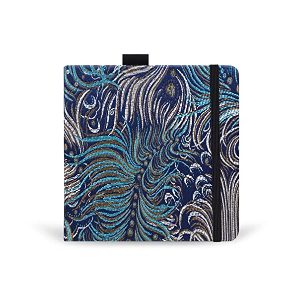 Square 5.1X5.1 300gsm Watercolor Journal Hardbound 40pgs(20 Sheets Front Back 2 Textures)Travel Size for Calligrapher Colored Pencil Watercolor Sketch Handmade Cloth Cover Notebook Peafowl (Color: peafowl)