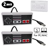 Mekela 2 Packs 5.8 feet Classic USB wired Controller for NES Gaming, Retro Game Pad Joystick Raspberry Pi Gamepad for Windows PC Mac Linux RetroPie NES Emulators (Gray and Gray) (Color: Gray and Gray)