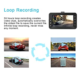 Dash Cam 1080P DVR Dashboard Camera Full HD 3 LCD Screen 170°Wide Angle, WDR, G-Sensor, Loop Recording Motion Detection Excellent Video Images(Black