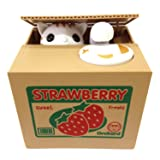 HmiL-U Toy Banks Automatic cat Stealing Coins Birthday for Kids (Strawberry-Cat) (Color: Strawberry, Tamaño: one size)