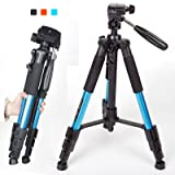 Zomei Q111 55 inch Compact Flexible Camera Tripod 4s Stand with 1/4 Mount 3-Way PanHead for All Canon Sony Nikon Samsung Panasonic Olympus Kodak Fuji Digital Cameras And Camcorders Blue