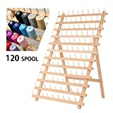 KINGSO 120 Spool Wooden Bobbin Thread Rack and Organizer for Sewing Quilting Embroidery Craft