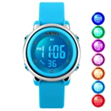 Kid Watch Multi Function 50M Waterproof Sport LED Alarm Stopwatch Digital Child Wristwatch for Boy Girl Blue