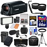Canon Vixia HF R800 1080p HD Video Camera Camcorder (Black) with 64GB Card + Battery & Charger + Case + Tripod + 3 Filters + LED + Mic + 2 Lens Kit (Color: Black)