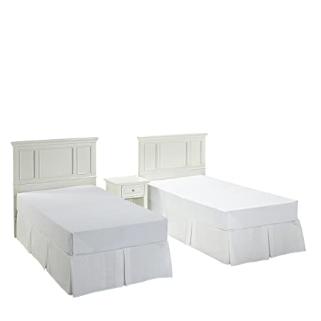 Home Styles 5530-4019 Naples Two Twin Headboards and Night Stand, White