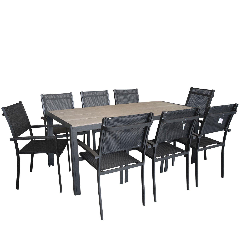 9tlg gartengarnitur 205x90cm aluminium polywood gartentisch alu stapelstuhl 4x4. Black Bedroom Furniture Sets. Home Design Ideas