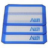 Silicone Alley, 3 Non-stick Silicone Mat Pad, Small Rectangle 5 X 4 Inch, Blue