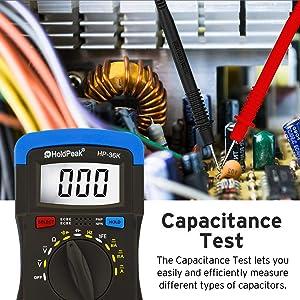 Holdpeak HP-36K Multimeter, 4000 Counts Digital Multimeter with Ohm Volt Amp and Diode Voltage Tester,hFE,AC/DC Voltage & Curent,Resistance,Capactianc