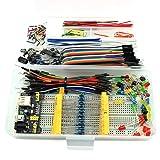 HJ Garden Electronic Component Assorted Kit for Arduino, Raspberry Pi, STM32 etc. 830 Breadboard + Jumper + Power Module + Resistor + Capacitor + LED + Switch (Pack of 458pcs) (Tamaño: E3 Kit)