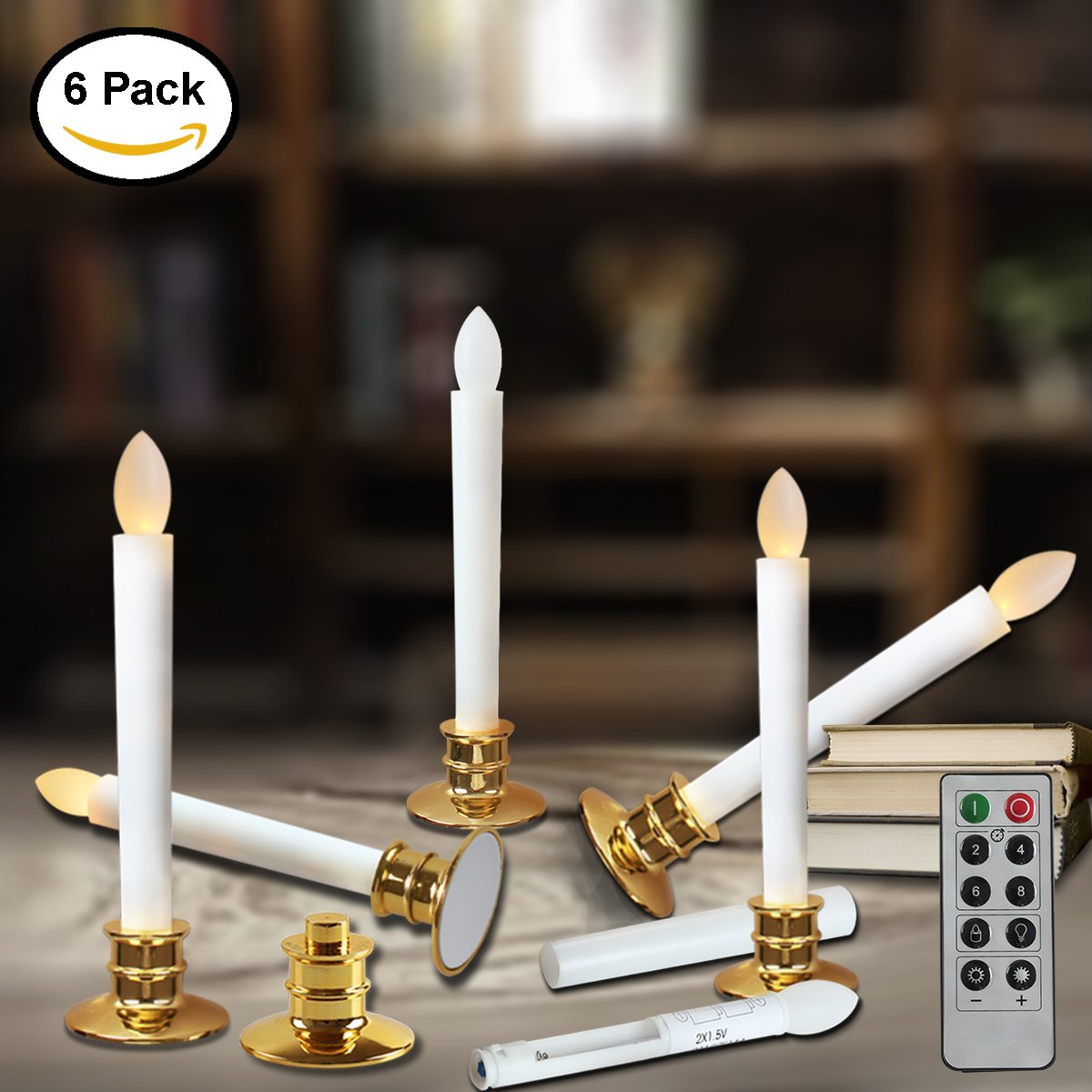 window candles with remote timers battery operated flickering flameless led electric candle lights with removable tapers