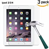 TANTEK l230 Hd Clear, Anti Scratch, Glare, Fingerprint, Tempered Glass Screen Protector for Apple iPad 2/3/4, 3 Piece (Color: ipad234-3pack)