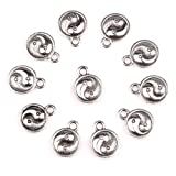 20 Pieces Magic Yin Yang Balance Powers Lucky Charms Findings for Jewelry Pendants Necklace Making 10mm (Color: Silver-Tone Color)