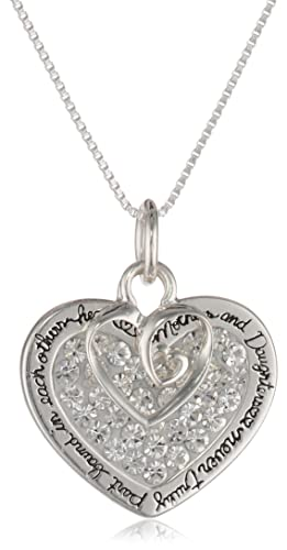 "Sterling Silver ""Mother and Daughter"" Sentiment Pave Crystal Pendant with Heart Charm Necklace, 18″"