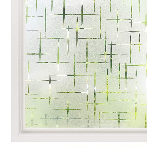 Rabbitgoo 3D Cross Pattern Frosted No Glue Static Cling Privacy Glass Window Films 17.5 x 78.7