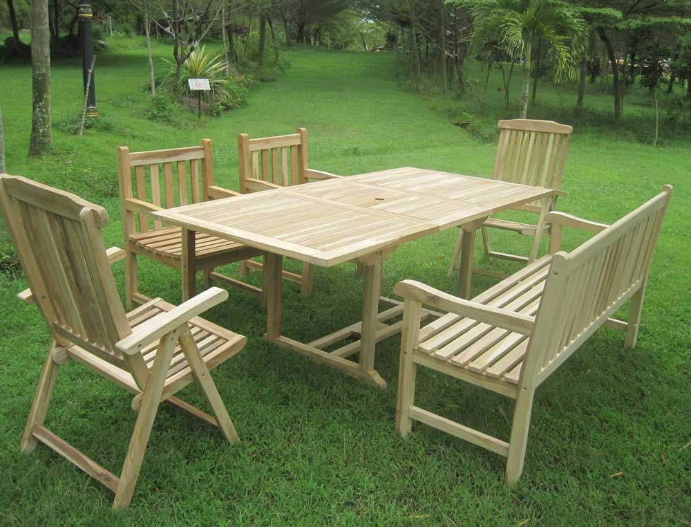 SAM® Teak Holz Gartengruppe Gartenmöbel Kuba-S III 6 teilig, 1 x Bank + 2 x Hochlehner + 2 Sessel + 1 x Auszugstisch