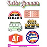 Delta Gamma - Sticker Sheet - Retro Theme (Color: Full Color, Tamaño: 8.5 x 12)