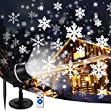 Christmas Moving Snowflake Projector Lights with Remote Control Snowfall LED Christmas Lights, Waterproof Projector Decorating Stage Light Outdoor Snowfall Holiday Party Garden Landscape Lights (Color: Snowflake)