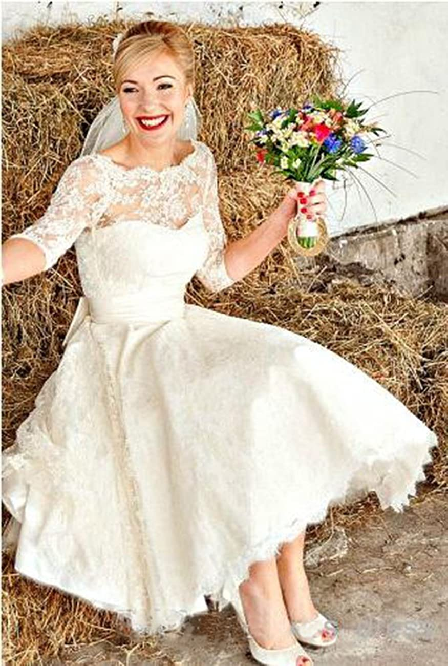 Hot Dresses Vintage Short Lace Wedding Dresses 3/4 Sleeves Tea Length Bridal Gowns 4