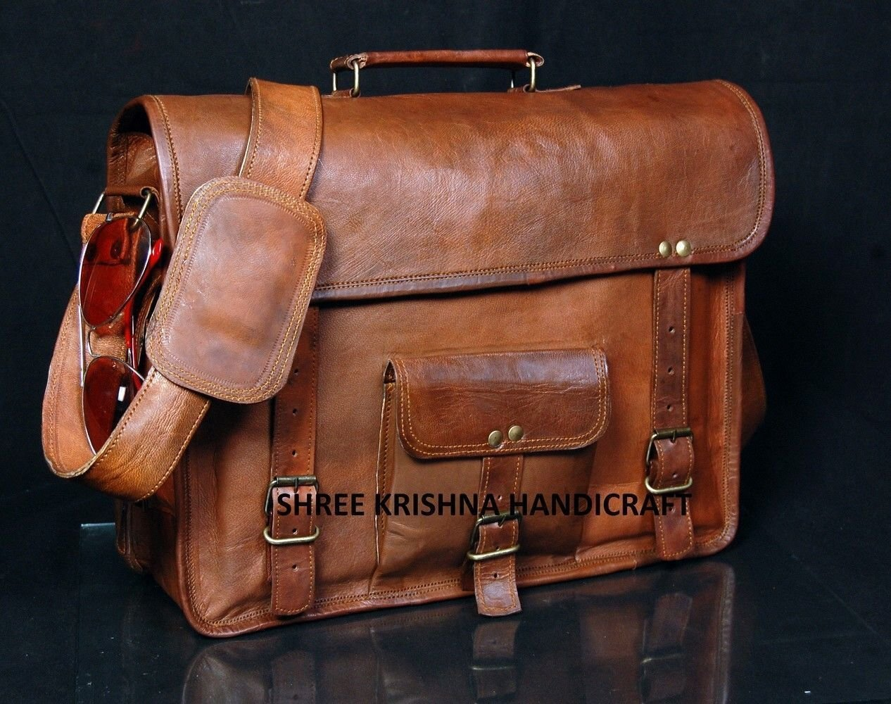 SKH Men's Genuine Vintage Brown Leather Messenger Shoulder Laptop Bag for Upto 15-Inch Laptop 0