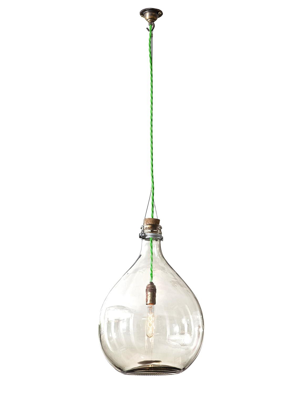 La Cachaca L003-5060358990557 Leuchte in Form einer rundbauchigen Brennereiflasche, mit neongrünem Kabel