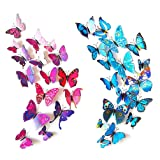 ElecMotive 12 Purple + 12 Blue 3D Butterfly Stickers Home Decoration DIY Removable Vivid Man-made Lively DIY Decor Wall Stickers for Wall Decor Home Decor Wall Art Kids Room Bedroom Living Room Decor (Color: Blue, Purple)