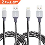 iPhone Cable, Quntis iPhone Charger 2Pack 6FT Lightning to USB Cable Cord Charge and Sync for iPhone X 8 Plus 7 Plus 6s Plus 6 Plus 5 5S 5C SE iPod iPad Pro and More Apple Devices (Lighting Black)