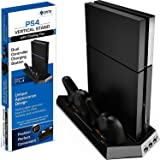 Ortz PS4 Vertical Stand with Cooling Fan [Highest Rated] Controller Charging Station with Dual Charger (Black) (Color: Black)