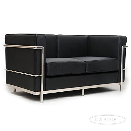 Kardiel Le Corbusier Style LC2 Loveseat, Black Genuine Leather
