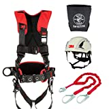 Protecta Comfort Construction Style Positioning Harness (Size-M/L) + Protecta 1340161 PRO 6' Shock Absorbing Lanyard + 3M SecureFit Safety Helmet, X5001VX +Bolt Bag 5416TFR (Color: Red Kit, Tamaño: Medium / Large)