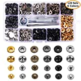 120 Sets Snap Fastener Kit Button Tool, MSDADA Leather Snap Buttons Press Studs with 6PCS Clothing Snaps Kit Fixing Tools, Metal Snaps for Clothing Leather Craft Bracelet Jeans Wear Jacket Bags Belt (Color: Gold)