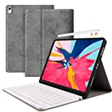 JUQITECH Keyboard Case for iPad Pro 11 2018 Detachable Wireless Bluetooth Keyboard Auto Sleep/Wake Folio Magnetic Smart Case Cover with Built-in Pencil Holder Support Apple Pencil Charging, Gray (Color: 2-Gray)