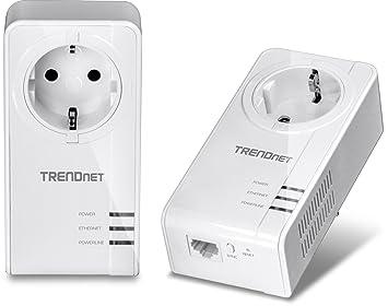 TRENDnet TPL-421E2K Pack de 2 CPL AV2 avec prise 1200 Mo/s Blanc