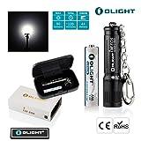 Olight Mini Flashlight 90Lumens i3E Keychain Flashlight Compact Tiny Beautiful Key Ring Pendant EDC Flash Torch Powered by Olight Lithium Metal AAA Batteries (i3e-Black/Giftbox)