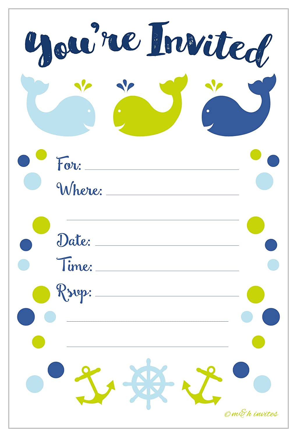 Preppy Whale Baby Shower or Birthday Invitations - Fill In Style (20 Count) With Envelopes