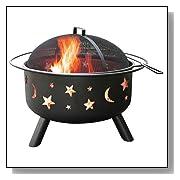 Black Big Sky Stars and Moons Firepit