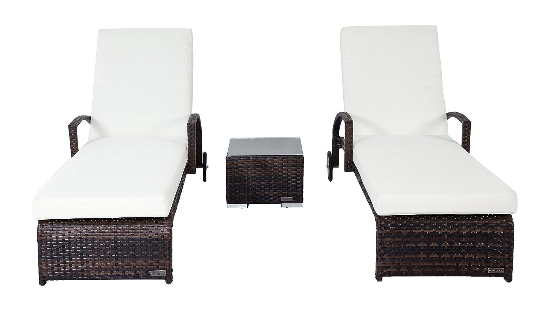 Outflexx Möbel 2-er Set Rollliege mit Beistelltisch w37, braun günstig online kaufen